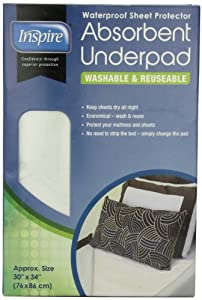 Inspire Waterproof Sheet Protector Absorbent Underpad, 30 Inches X 34 Inches