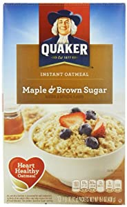 Quaker Instant Oatmeal Maple Brown Sugar,  1.51 oz. Package, 10-Count Boxes (Pack of 4)