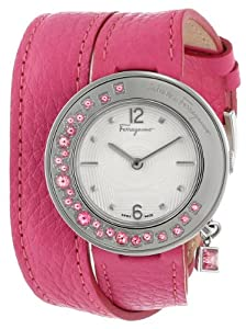 Salvatore Ferragamo Women's F64SBQ91201 S109 Gancino Sparkling Stainless Steel Fuchsia Double-Tour Watch by Salvatore Ferragamo