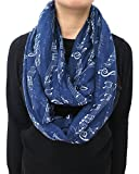 Lina & Lily Women's Musical Notes Print Infinity Loop Scarf (Navy Blue)