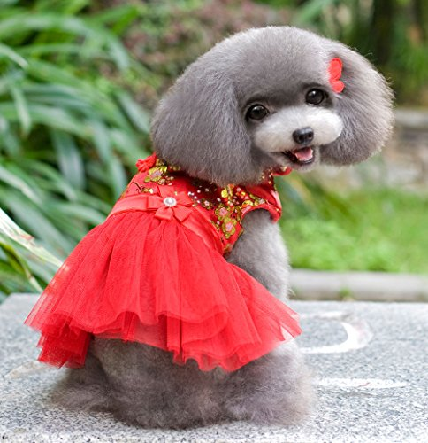 [SMALLLEE_LUCKY_STORE Chinese Traditional Tang Suit Dress, Red, Small] (Business Suit Dog Costume)