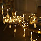 8.2 Ft 20 Leds Teardrop Bubbles LED String Lights Water Prop Drop Shapes Decorative for Gardens, Home, Wedding, Christmas Party (Warm White)