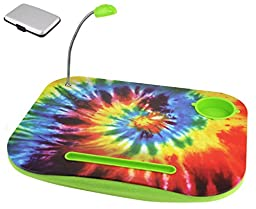 Portable Green Tie Dye Laptop Tablet Notebook Computer Lap Desk with Cup Holder Light Cushion Pillow Best Unique Gift for Girls Boys Teens Kids Adults with CARD CASE (TVColor1)