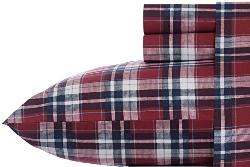 Nautica Groveland Cotton Blend Wrinkle Resistant Sheet Set, Full, Red front-483671