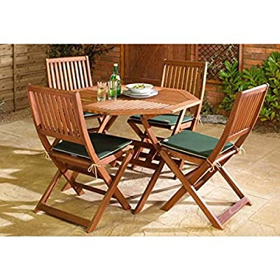 Wooden Garden Furniture Set, 4 Seat Folding Patio Table & Chairs Ideal For Outdoor Living and Dining, Hardwood FSC Approved Eucalyptus Wood..