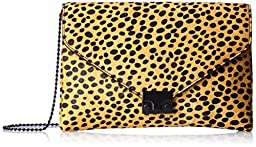 LOEFFLER RANDALL Lock Clutch,Cheetah/Black/Shiny Black,One Size
