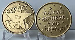Set of 2 Expect To Win You Can Achieve Your Dreams Bronze Medallion Challenge Tokens