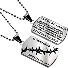"""Christian Mens Stainless Steel Abstinence """"Saved By Grace - For By Grace You Have Been Saved Through Faith; and That Not of Yourselves, It Is the Gift of God; Not As a Result of Works Lest Any Man Should Boast - Ephesians 2:8, 9"""" Crown of Thorns Dog Tag Necklace for Boys - Guys Purity Necklace - 24"""" Ball Chain"""