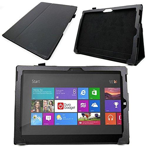DURAGADGET  マイクロソフト Surface Pro 3(Core i5/128GB/Office付き) 単体モデル [Windowsタブレット] MQ2-00015用 本革レザー保護ケース スタンド機能付 (黒)