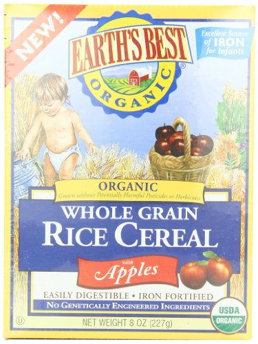 Earths Best Organic Whole Grain, Rice Cereal with Apples, 8-Ounce Boxes (Pack of 6)