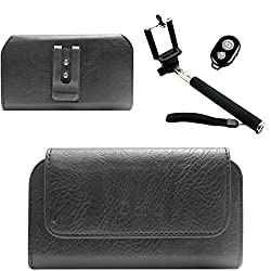 DMG Premium PU Leather Cell Phone Pouch Carrying Case with Belt Clip Holster for Sony Xperia M4 Aqua Dual (Black) + Handheld Selfie Monopod with Bluetooth Clicker