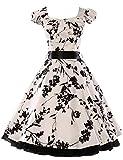 Threeseasons Women Vintage Dresses 1950s Floral Cap Sleeve Party Dress