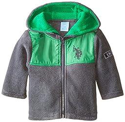 U.S. Polo Assn. Baby Boys\' Polar Fleece Hooded Jacket, Green/Charcoal, 24 Months