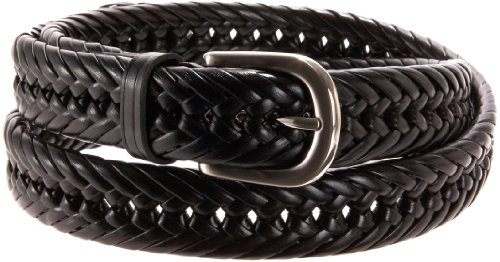 Wrangler Mens Big And Tall Hand Woven Leather Belt, Black, 50