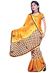 Vamika Chiffon Printed Saree (Yellow)