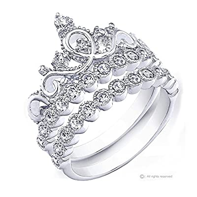 Rhodium-plated Sterling Silver Crown Ring / Princess Ring and Band Set