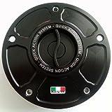 TWM Quick Action CNC Billet Fuel Gas Cap with Black Handle Fits Aprilia RSV4 TUONO V4 RSV 1000 FACTORY R APRC
