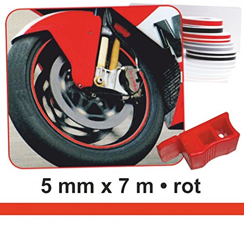 Deco-Stripes Wheel-Stripes for motorcycle-rims, red, 5 mm x 7 m