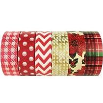 Wrapables Japanese Washi Masking Tape, Christmas Collection (Set of 6) - SET01