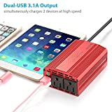 BESTEK Dual 110V AC Outlets 300W Power Inverter with 3.8ft Battery Clips Cable