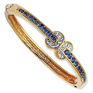 Gold-plated Swarovski Crystal Blue Love Knot 7 inch Bangle