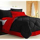 Dorm Bedding Set: Dorm-Room-In-a-Box: Comforter, Sheet Set, Mattress Pad, Pillow, Towel set - Black Red - Twin XL 10 Pc SET