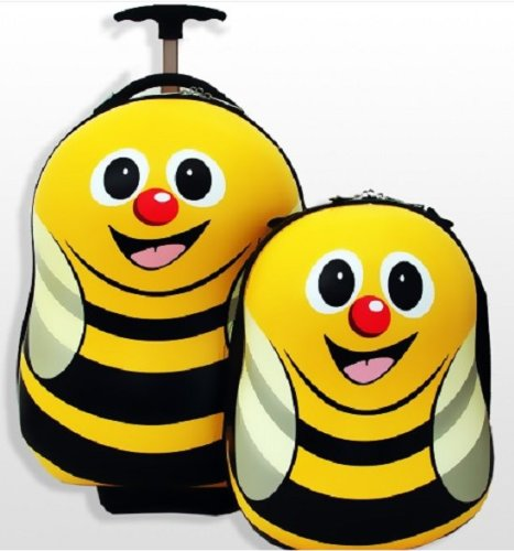 B0091ZKYEM CUTIES AND PALS KIDS BOYS GIRLS 17″ TRAVEL TROLLEY LUGGAGE + 13″ BACKPACK – BEE