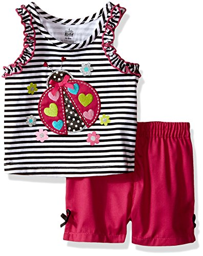 Kids Headquarters Baby Sleeveless Top with Woven Shorts, Black/White, 12 Months