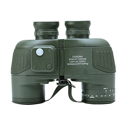 USCAMEL® 10 x 50 HD Militär-Fernglas Wasserdicht mit Entfernungsmesser Kompass Armeegrün