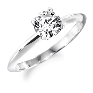1 Ct Solitaire 4-Claw Ring Clad in 18ct Platinum