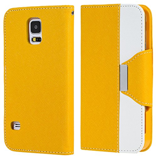 myLife (TM) Sunshine Yellow and Magnolia White - Koskin Faux Leather (Card, Cash and ID Holder + Magnetic Detachable Closing + Hand Strap) Slim Wallet for NEW Galaxy S5 (5G) Smartphone by Samsung (External Rugged Synthetic Leather With Magnetic Clip + Internal Secure Snap In Hard Rubberized Bumper Holder + Lifetime Warranty + Sealed Inside myLife Authorized Packaging)