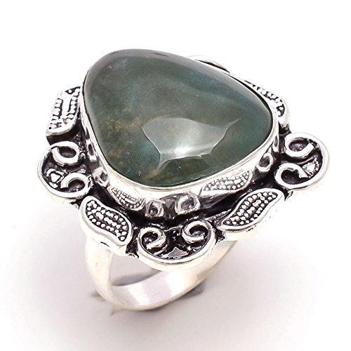 925 Sterling Silver Overlay Ring, Moss Agate Gemstone Handmade Jewelry Pr121 (Moss Agate Ring compare prices)