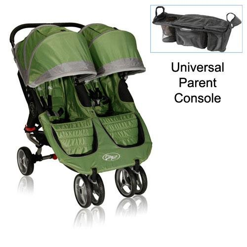 Baby Jogger 12240 City Mini Double Stroller In Green-Gray With Parent Console front-148781