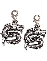 Double Dragon Charm Pendants By Jasmines Gifts