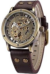 AMPM24 Vintage Bronze Roman Automatic Mechanical Mens Skeleton Brown Leather Strap Wrist Watch PMW362