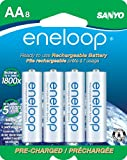 eneloop AA 1800 cycle,  Ni-MH Pre-Charged Rechargeable Batteries, 8 Pack