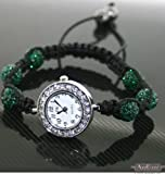 Shamballa Bracelet Watches Swarovski Watch Crystal Beads Dark Green with Gift Bag