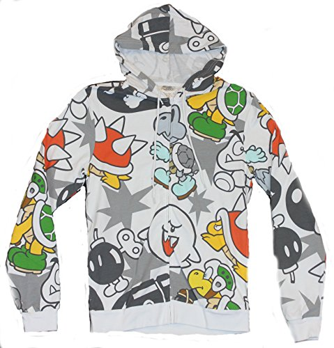 Super Mario Bros Mens Hoodie Sweatshirt - Enemy Grunts All Over Print on White
