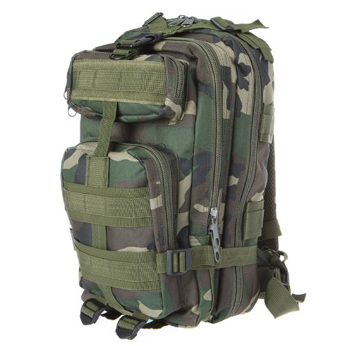 Sport Outdoor Military Rucksacks Tactical Molle Backpack Camping Hiking Trekking Bag (Woodland Camouflage)