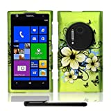 Artistic Beautiful Design Nokia Lumia 1020 Elvis (AT&T / Microsoft Windows Phone 8) Hard Protector Cover Case + Bonus Long Arch 5.5 Baby Blue Screen Cleaning Cloth + Bonus 4 Metallic Black Capacitive Stylus Pen (Apple Green Butterfly Flower Garden)