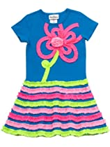 Rare Editions Girls 2-6X Neon Button Back Dress, Turquoise/Lime/Pink, 6