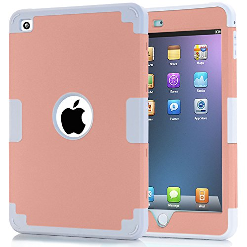 iPad Mini 4 Case, Speedup 3in1 Hybrid Shockproof Hard Plastic with Soft Silicone Bumper Triple Layer Armor Full Body Protective Case Cover Case For iPad Mini 4 (Rose Gold + Grey) (Ipod Touch Loop Space Gray compare prices)