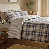 Flannelette Blue Tartan check Reversible 100 % Cotton Flannelette Duvet Set Luxury Bedding Set Single Bed Size Blue