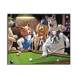 Medium Canvas Print Stylish New Wall Art Dog Play Billiard Pool Dogs Playing Poker (B) 40x50cm / 16x20inch