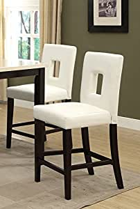 White Leather Counter Height Stools Set of 2 Parson High Chairs Bar Stools