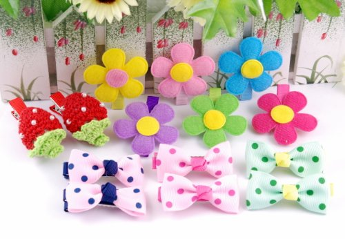16 Item Bundle Handmade Grosgrain Crochet Hair Clips Accessories for Baby Girls Toddle