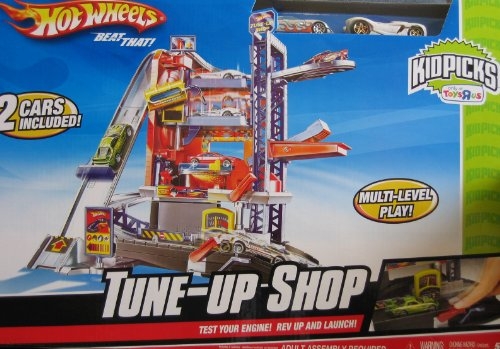 Hot Wheels Tune Up Shop W Multi Level Play 2 Cars Toys R Us
