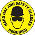 "Accuform Signs MFS210 Slip-Gard Adhesive Vinyl Round Floor Sign, Legend ""HARD HAT AND SAFETY GLASSES REQUIRED"" with Graphic, 17"" Diameter, Black on Yellow"