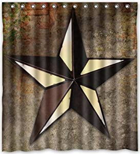 66 x72 inches western texas star shower for Star curtain fabric