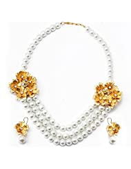 Aarya 24kt Gold Foil Flower Necklace Set With 3 Line Big Pearl For Women